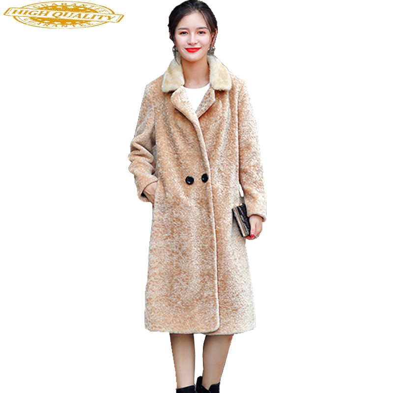 2020 Women Real Fur Coat Natural Mink Fur Collar Winter Thick Warm Jacket Lamb Fur Coats Genuine Sheep Overcoat WYQ944