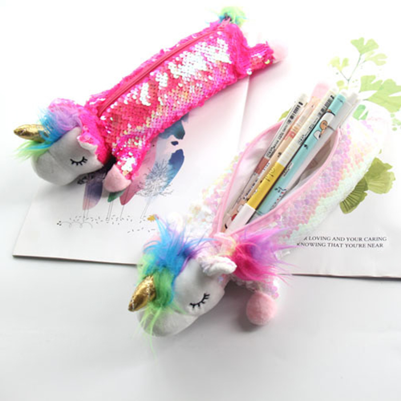 Student Sequin Unicorn Pencil Case Girl Large Capacity Cartoon <font><b>Makeup</b></font> <font><b>Brushes</b></font> <font><b>Bag</b></font> Glittering Rainbow Fur <font><b>Mermaid</b></font> Cosmetic Case image