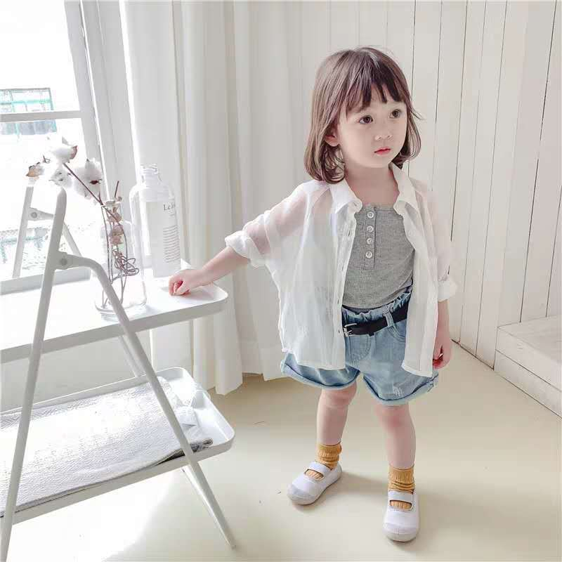 2020 Summer New Children's Sun Protection Clothing Korean Girl Solid Color Sweet Sun Protection Clothing Cardigan