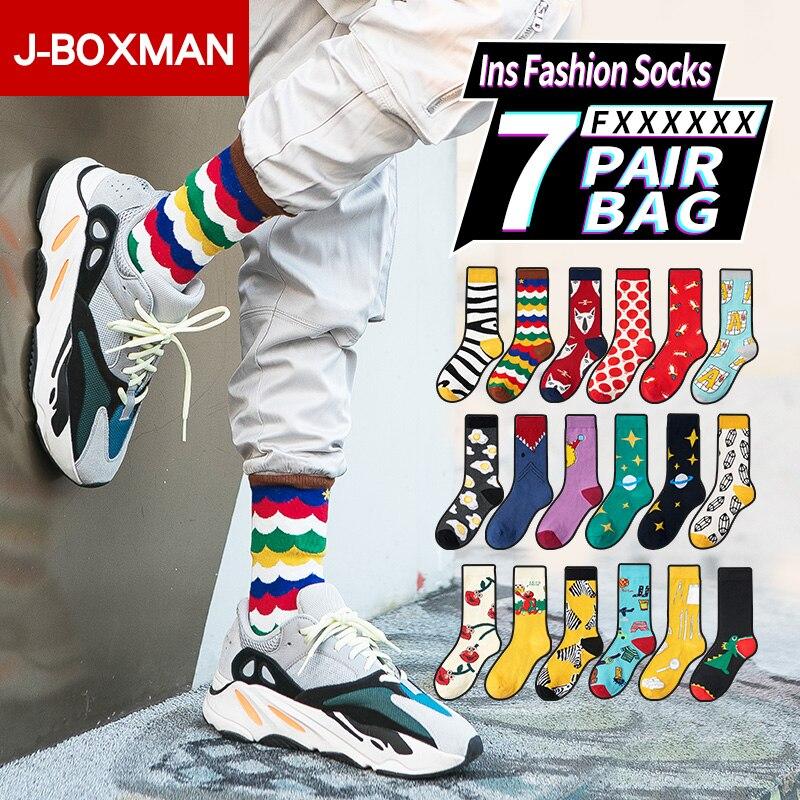 1-7 pares/lote hip hop meias homem streetwear longo meias de futebol ins moda esportes de algodão macio meias felizes engraçado impressão sox