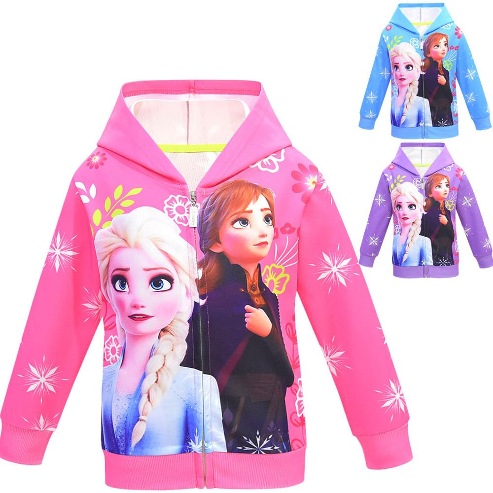 Girls Hoodies Cartoon Lisa Anna Princess Printed Autumn Spring Toddler Hoodie Zipper Cardigan Sweatshirt Girls Fashion Jacket 1