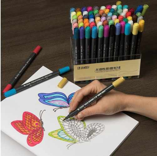 STA 80 цветов с двойной головкой художника растворимый цветной эскиз маркер набор кистей и ручек для рисования Дизайн кисть для рисования маркер поставки