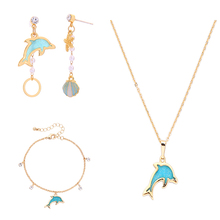 Resin Dolphin Fish Jewelry Sets Blue Crystal Bracelets Gold Color Pendant Necklace For Women Wedding Gift New