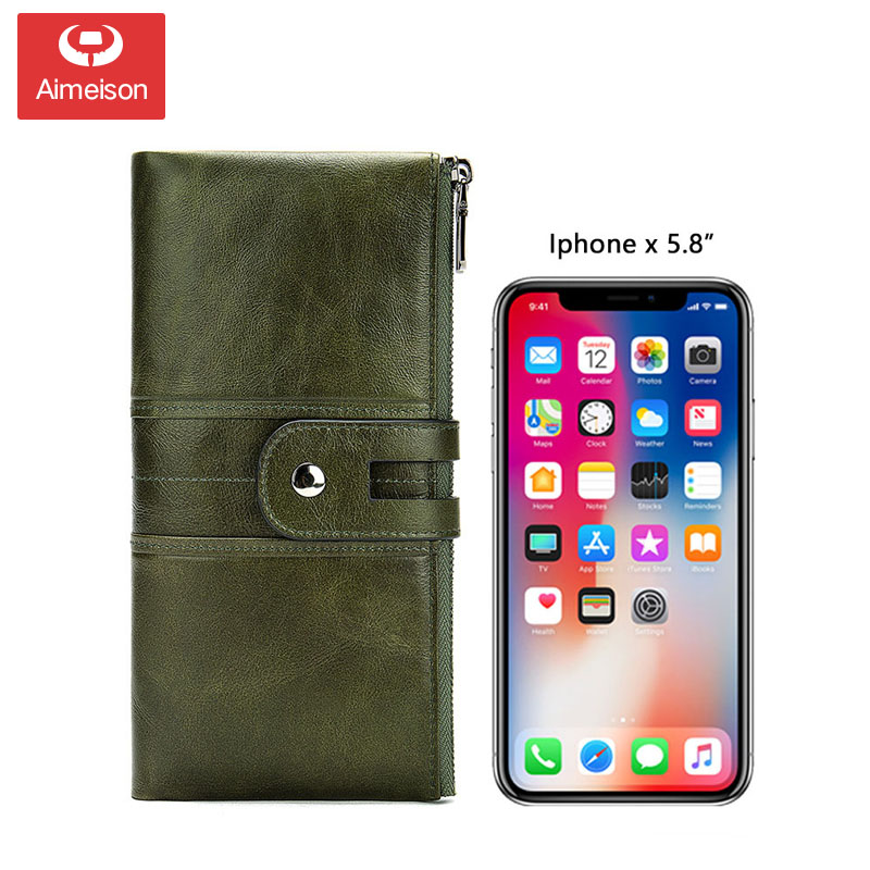 Korean version of the retro leather wallet long men and women clutch bag multi-function wallet custom wallet men wallets image