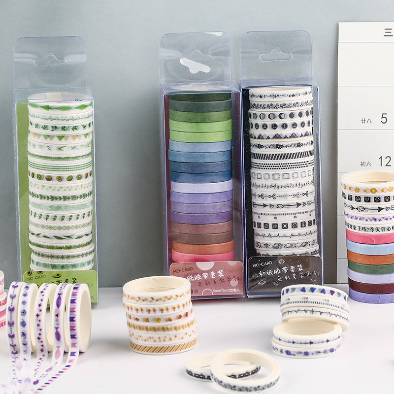 20 Pcs/lot Color Aesthetics Series Color Slim Washi Masking Tape Set Paper Stickers Scrapbooking Stationery Decorative Tape
