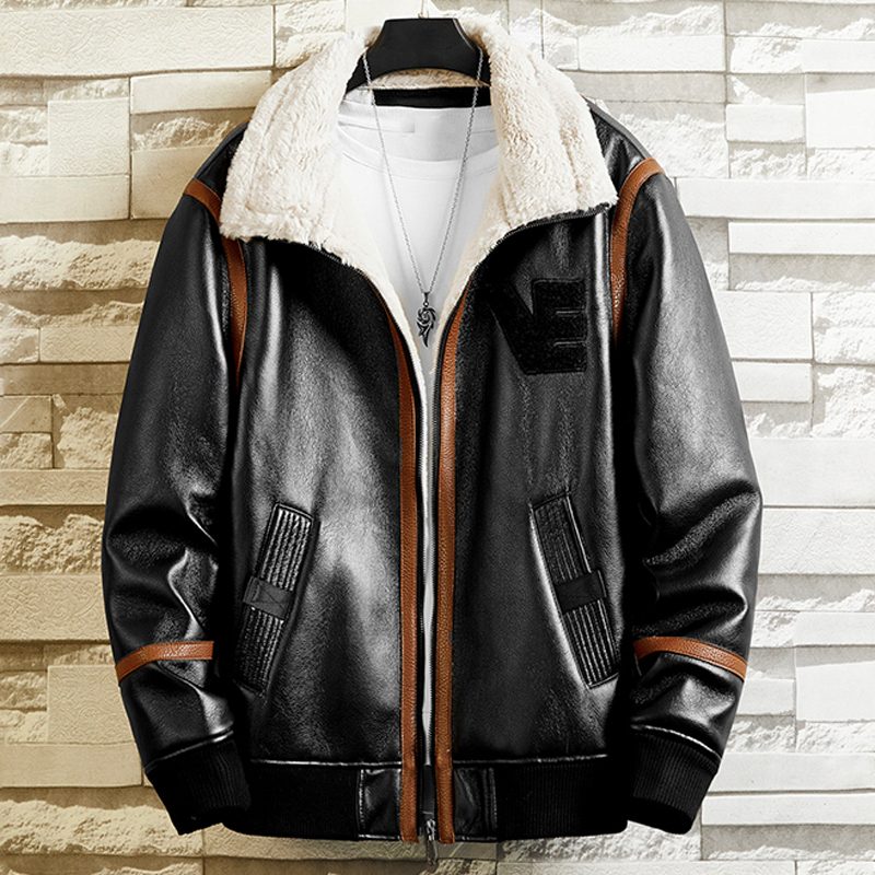 Autumn Winter Faux Fur Coats Mans Leather Jackets Brand Clothing 4XL European And American Overcoats Automotive Streetwear B786