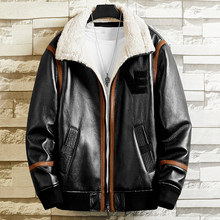 Autumn Winter Faux Fur Coats Mans Leather Jackets Brand Clothing 4XL European and American Overcoats Automotive Streetwear B786(China)