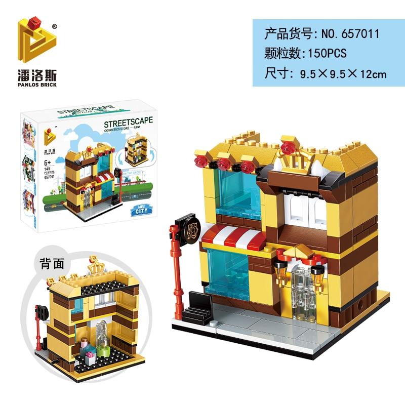 Mini Lego City Street View Block Retail Store Restaurant DIY Building Blocks Compatible lego technic Tech Building kids Toys - Цвет: 657011