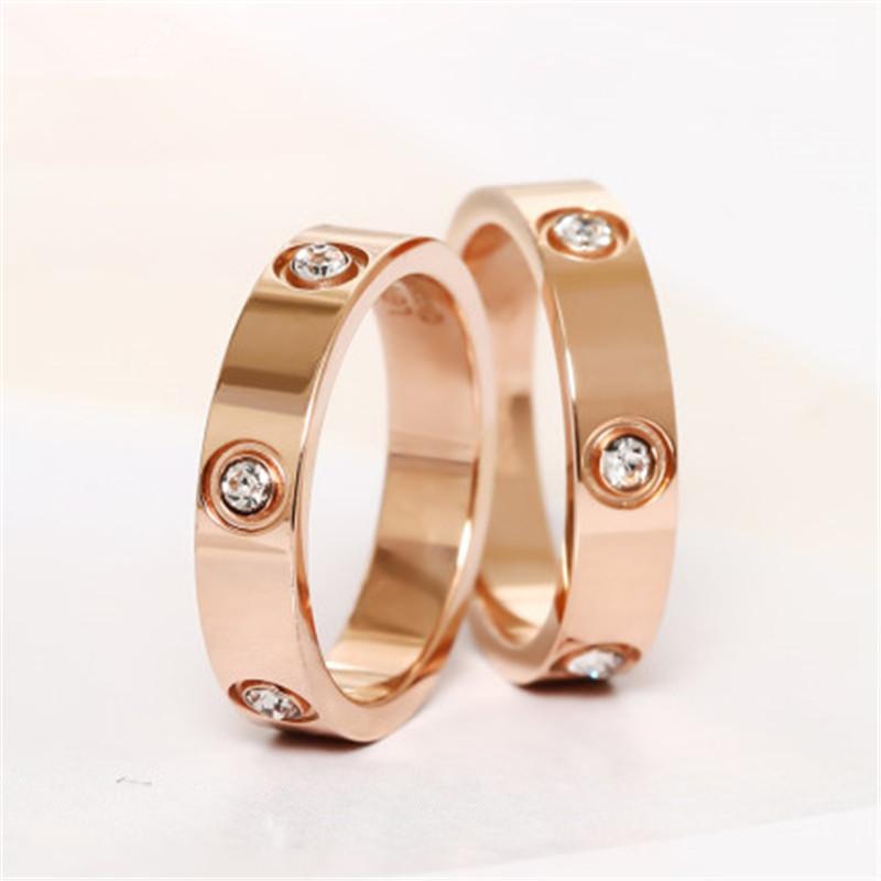 Trendy Stainless Steel Rose Gold Color Love Ring for Women Men Couple CZ Crystal Rings Luxury Brand Jewelry Wedding Gift KK050