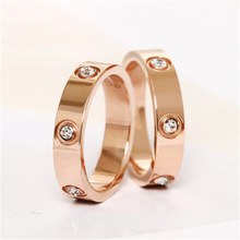 Trendy Stainless Steel Rose Gold Color Love Ring for Women Men Couple CZ Crystal Rings