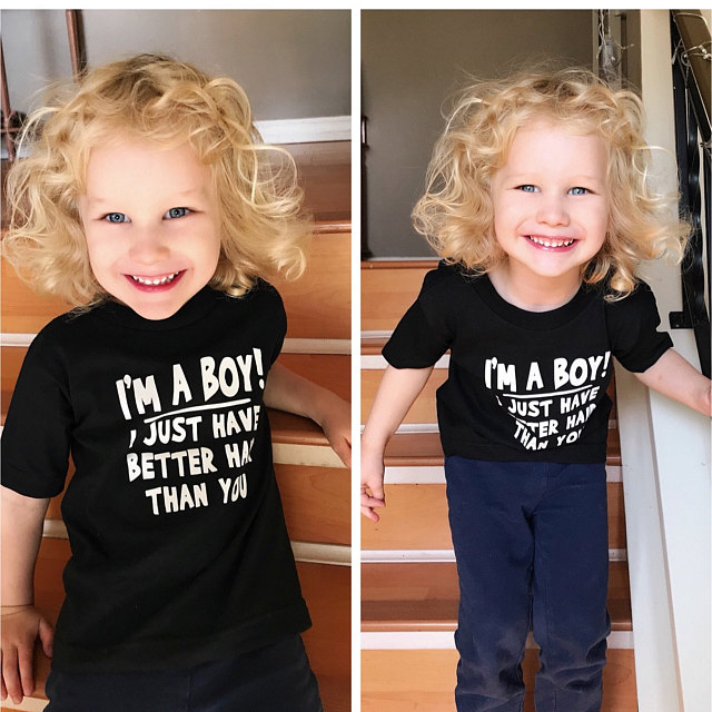 I'm A Boy I Just Have Better Hair Than You 2020 Summer Children's Short Sleeve T-shirt Kids Sweatshirt Child's Clothes T Shirt