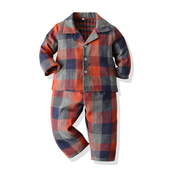 Top and Top Infant Baby Cotton Clothes Pajamas Set Cartoon Long Sleeve Lapel Tops+Pants Outfits Unisex Toddler Casual Sleepwear 1