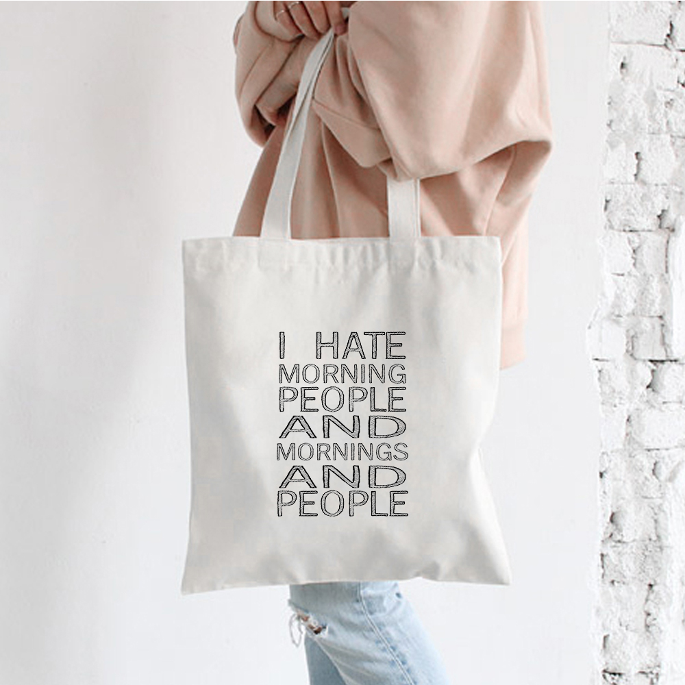 I Hate You Print Ladies Cloth Canvas Tote Bag Cotton Shopping Bag Women Folding Shoulder Shopping Shopper Bags Bolsas De Tela