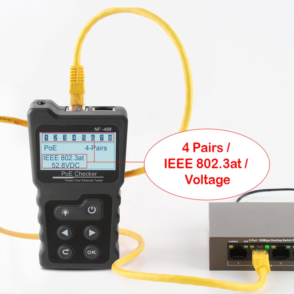 Сетевой тестовый прибор для проверки мощности по Ethernet Cat5 Cat6 Lan тестовый инструмент обнаружения сети