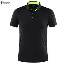 Мужская теннисная рубашка поло с коротким рукавом, рубашка для бадминтона для улицы, футбола, бега, спортивная одежда, быстросохнущая спорт...