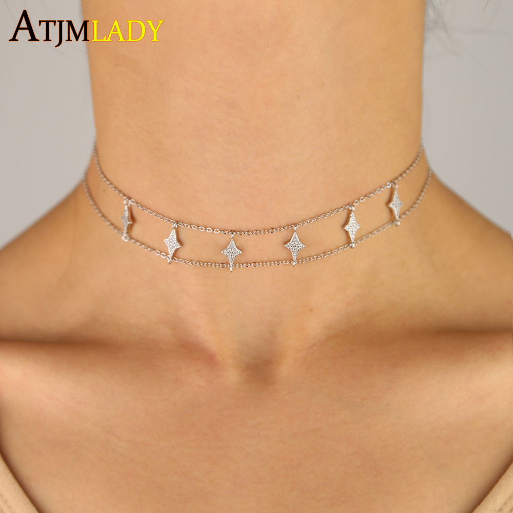 2019 New 925 Sterling silver cz star charm necklace choker double chain delicate sparking cz star pendant necklace women jewelry