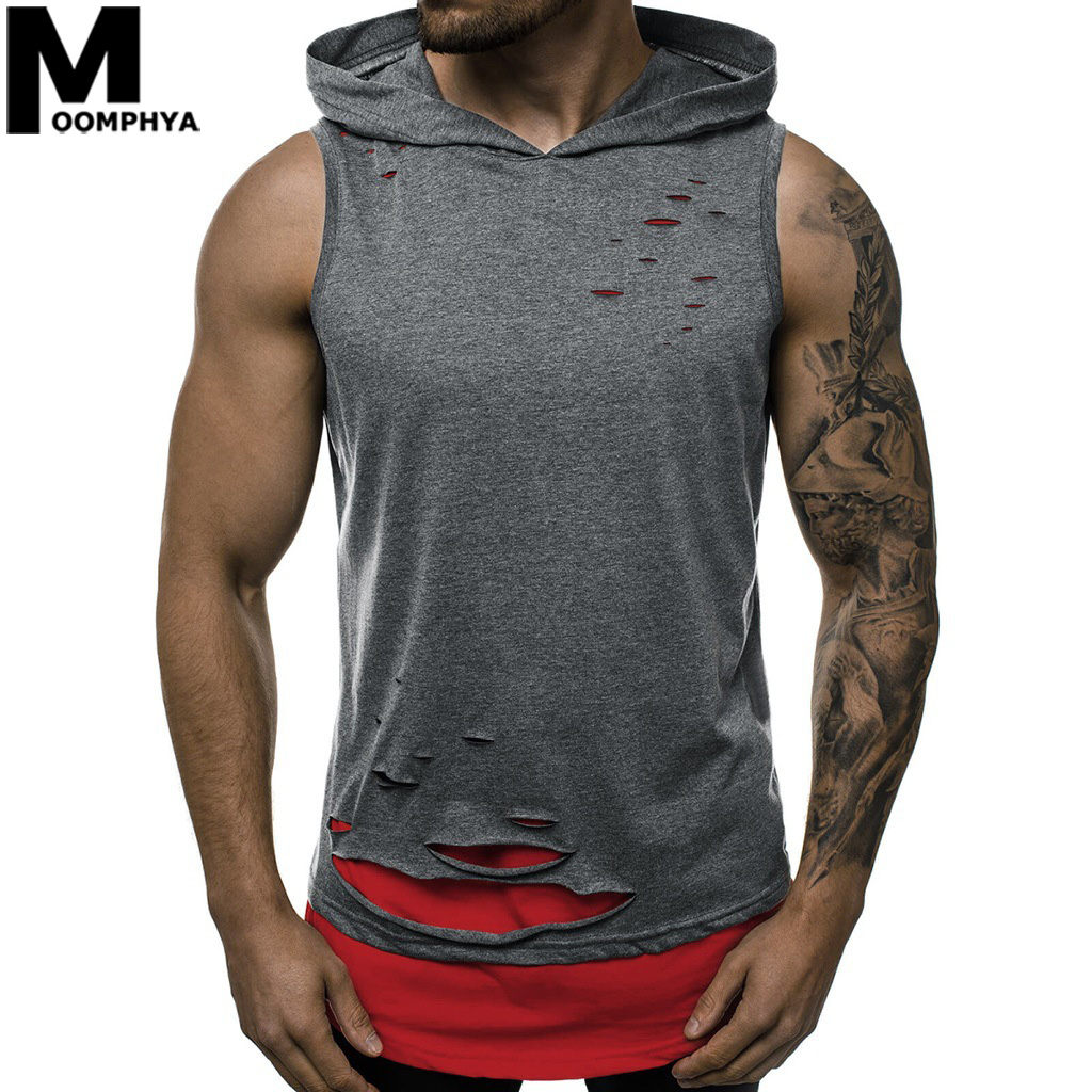 Moomphya 2020 Hooded Ripped Holes Tank Top Men Mens Clothing Bodybuilding Sleeveless Vest Longline Hem
