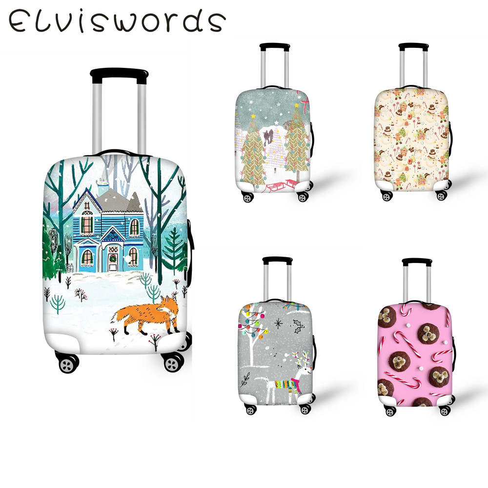 ELVIESWORDS Luggage Cover Christmas illustration Design Travel goods Elastic dustproof Cover Size 18-32 inch Luggage protective