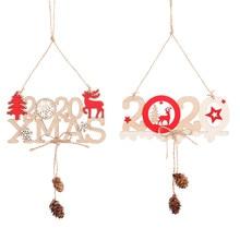 2020 Christmas New Year Alphabet Hemp Wooden Pendant Creative Door Hanging Decorations For Home
