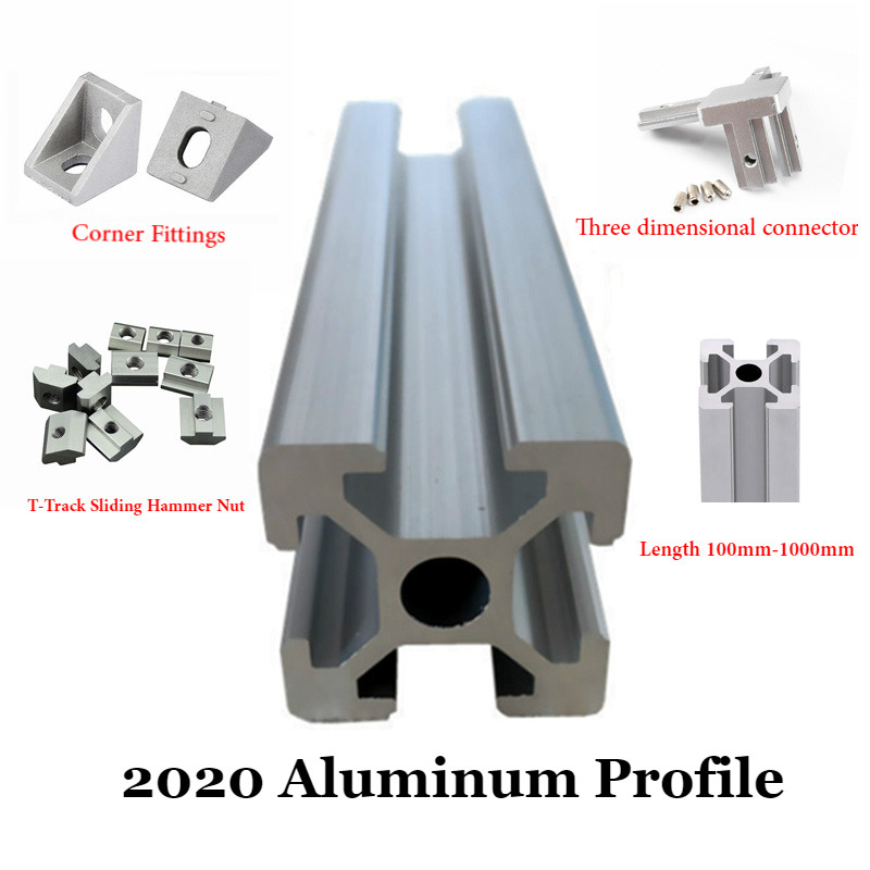 <font><b>2020</b></font> Aluminum <font><b>Profile</b></font> Extrusion European Standard Anodized Linear Rail 100mm~<font><b>1000mm</b></font> for CNC Laser 3D Printer machine image