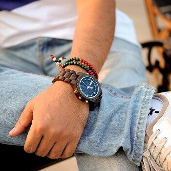 Relojes Digitales Para Hombres | BOBO BIRD Luminoso Reloj De Mano Hombres De Madera Hecho A Mano Fecha Automática Correa De Madera Reloj Masculino En Caja De Regalo Reloj Para Navidad Masculino B-P02