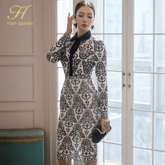 H Han Queen Women Autumn 2 Pieces Hollow Out Embroidery Pencil Dress Office Sexy Elegant Sheath Bodycon Vestidos Party Dresses 2