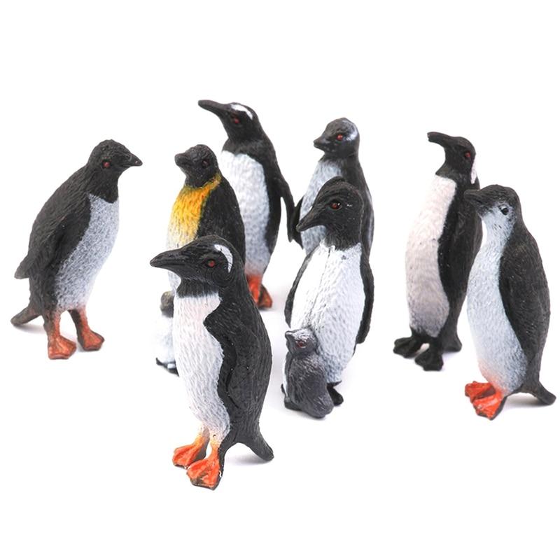 Plastic Penguin Ocean Animal Toy Model Gift 8pcs Black + White