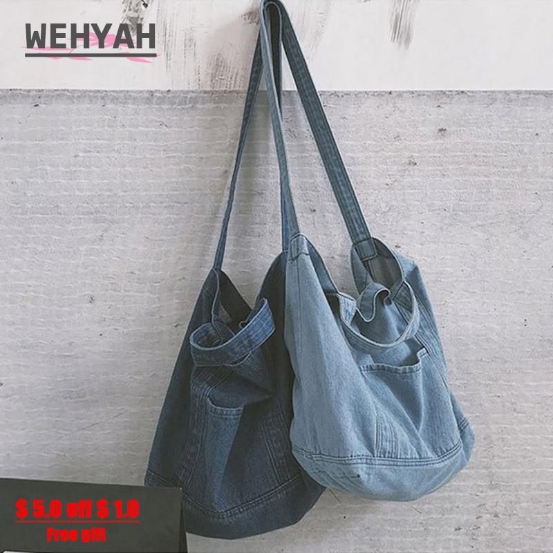 Wahyah Denim Shoulder Hand Bag for Woman Shoulder Bag Crossbody Casual Jeans Bags Women Handbags Denim sac a main bolsos  ZY046