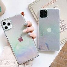 Funda de teléfono holográfica con gradiente de gota de agua para iPhone 11 Pro Max XR X XS Max 7 8 6S Plus, funda rígida para teléfono PC ajustada con purpurina