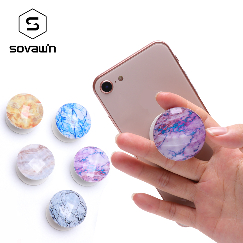 Universal Mobile Phone Holder Stand Marble Pattern Air Bag Bracket Mount Fashion Finger Ring Holder 360 Rotating for IPhone X XS