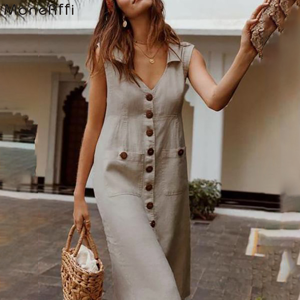 MoneRffi 2020 Summer Dress Boho Style V-Neck Waist Plus Size Casual Solid Color Sleeveless V Neck Pockets Midi Dress