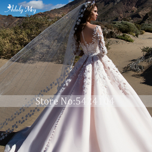 Image 5 - Adoly Mey Romantische Scoop Ansatz Halbe Hülse A Line Hochzeit Kleid 2020 Wunderschöne Appliques Blumen Prinzessin Angepasst Hochzeit Kleid