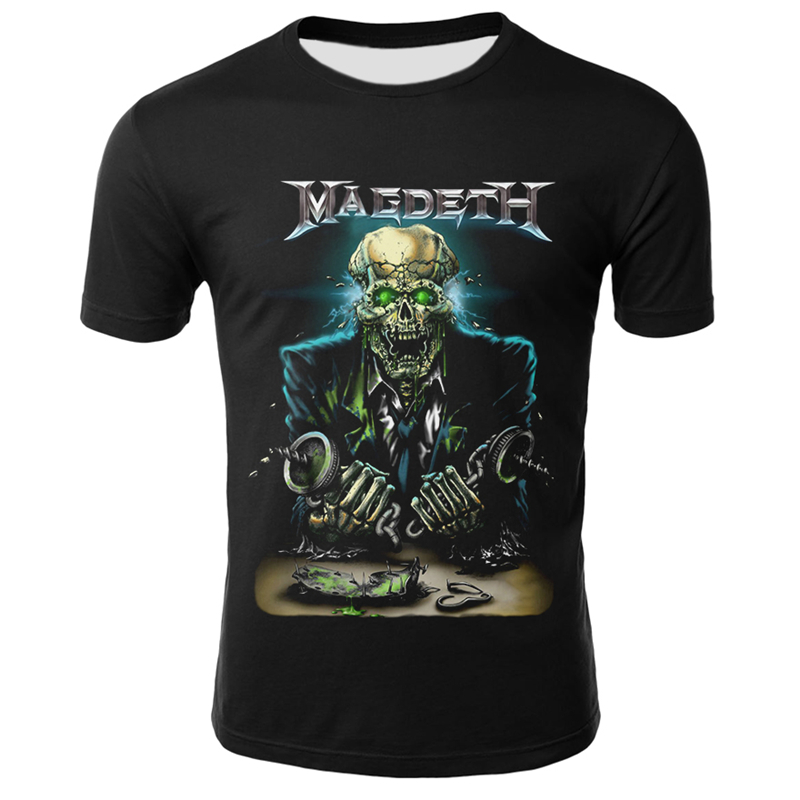 Hip Hop 3D Megadeth T-shirts Men/Women Summer Tops Tee O-neck Short Sleeve Cool Streetwear Fashion Skull Tshirts Plus Size