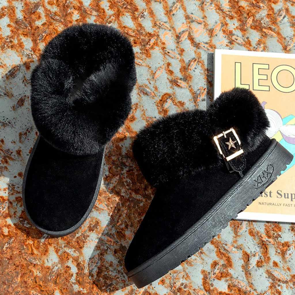 ผู้หญิงหิมะรองเท้าบูท Fleeces Warm ฤดูหนาว Turn Over Edge สีดำ Boot หญิงรอบ Toe Platform รองเท้า Chaussures Femme 2019 ใหม่