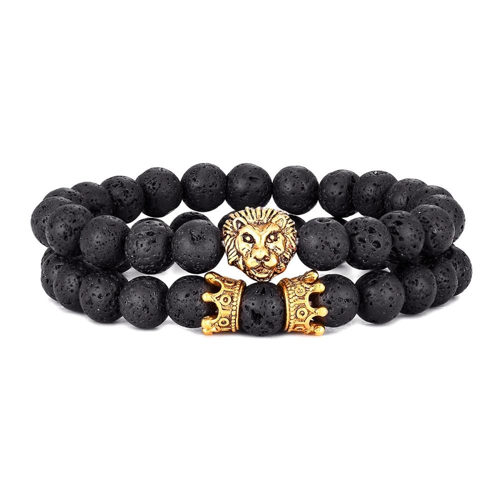 2 Pçs/set Cabeça Do Leão Do Vintage e Crown Charm Bracelet 8 milímetros Naturais Contas de Pedra De Lava Homens Pulseira 2020 Moda Jóias