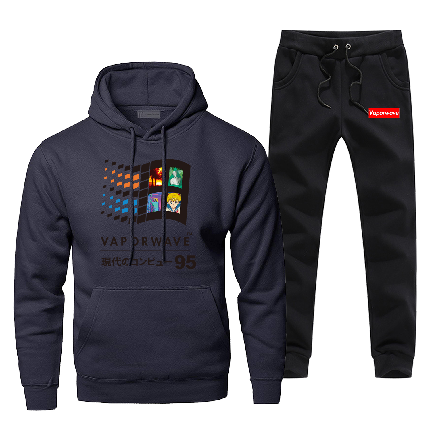 Mens Hoodies Sets Vaporwave 2Pcs Pant Vintage Retro Hoodie Sweatshirt Sweatpants Streetwear Japanese Anime Aesthetic Sweatshirts