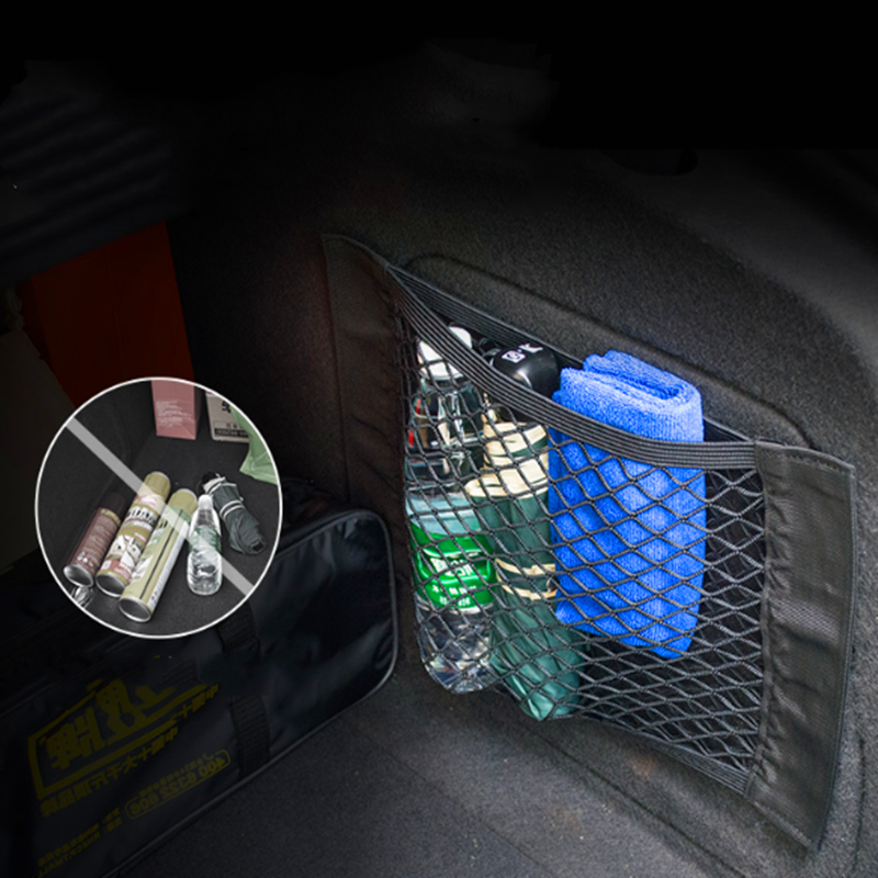 40*25CM Car Trunk Box Storage Bag Mesh Pocket Sticker Trunk Organizer For Peugeot 206 <font><b>207</b></font> 307 3008 2008 308 408 508 301 208 image