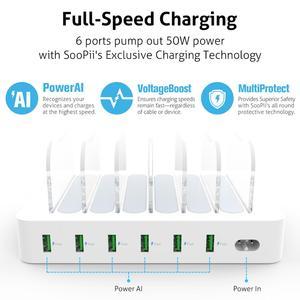 Image 4 - Soopii 50W/10A 6 Port USB Ladestation Veranstalter für Mehrere Geräte, dock Station mit 6 Misch Kabel Enthalten