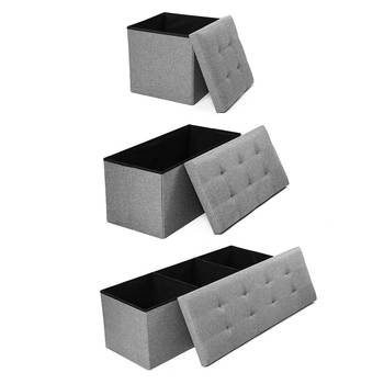 Simple Fabric Storage Storage Stool Folding Shoe Bench Footstool Can Sit With Lid Storage Box Stool 110x38x38cm/76x38x38cm