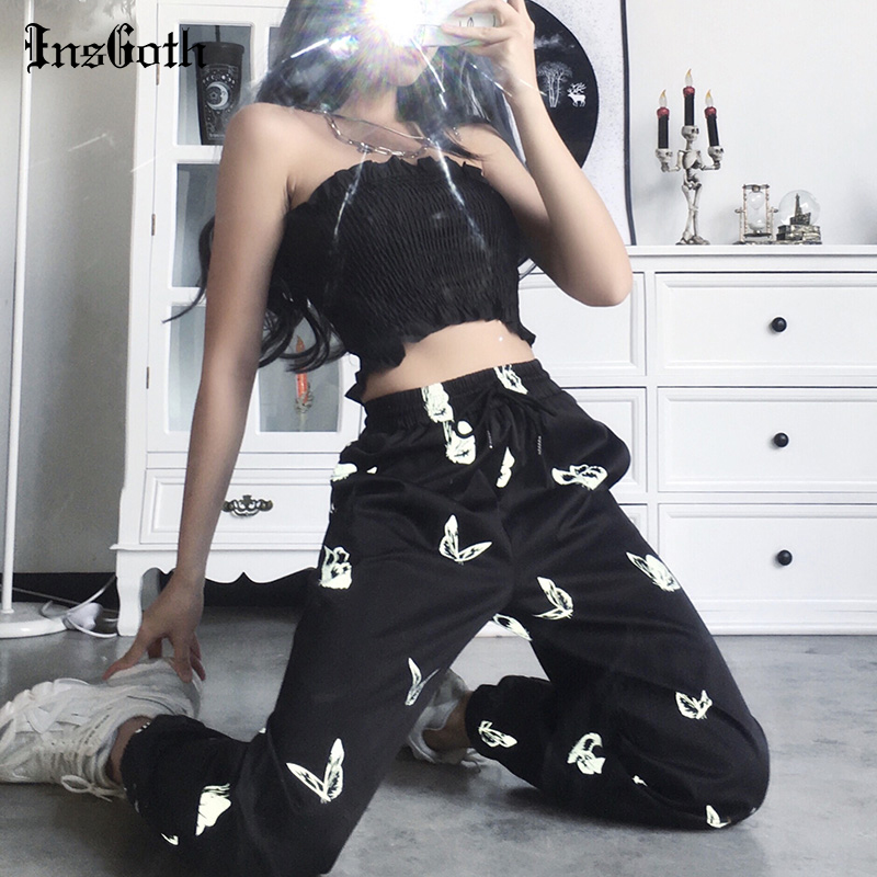 InsGoth Black Harem Pants Women Gothic Butterf Printed Long Trouser Casual Streetwear Punk Female Reflective Pants Loose Trouser
