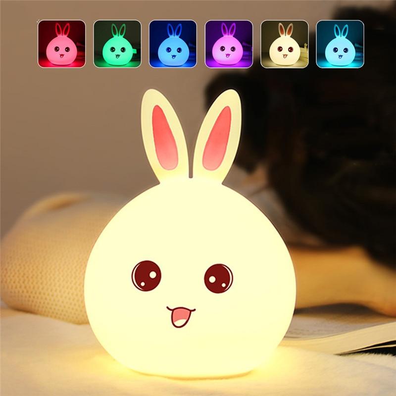 New Rabbit Silicone Night Light Remote Sensor Lamp For Children Kids Bedside Lamp Multicolor Silicone Touch Sensor Nightlight