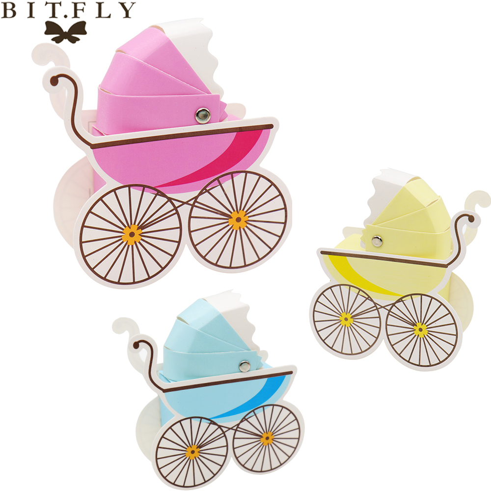 5pcs Baby Carriage Gift Box Baby Shower Birthday Party Candy Box Cute Shape Wedding Party Favor Box Cartoon Paper Boxes