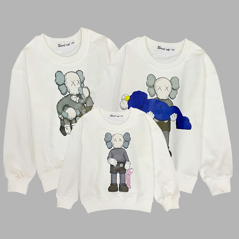 Family Matching Outfits Spring Autumn New Children Cartoon Hoodie Kids Sweaters Pullovers Baby Clothes Top Tee Family Look CL062