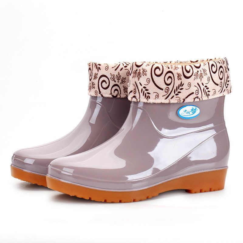 Yeni eğlence yağmur çizmeleri kadın düşük topuklu yuvarlak ayak ayakkabı su geçirmez orta tüp yağmur çizmeleri chaussures femmes 239