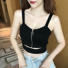 Tank-Top Short Sexy Young-Lady Women Summer Camis V-Neck Waist-Cut Front-Zipper Female