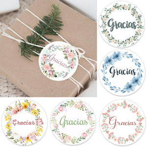 Floral Frame Gracias Thank You Sticker for Seal Label Christmas Wedding Thanksgiving Sticker Stationery Decoration Stickers