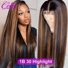 Парик из натуральных волос Celie, прямые волосы, медовый, светлый парик на шнуровке спереди, коричневый, хайлайтер, парик из человеческих волос...