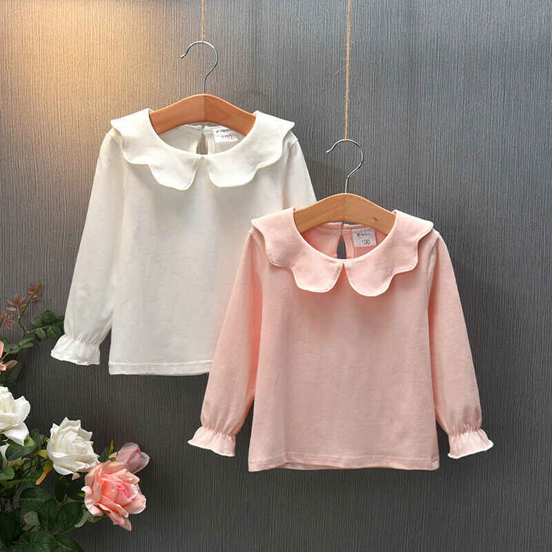 New Toddler Kids Baby Girls Long Sleeve Doll Collar T-shirts Tops Casual Spring Autumn Children Girls Clothes T-shirt 0-7Y