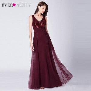 Image 3 - Sparkle Evening Dresses Long Ever Pretty EP07453BD A Line V Neck Ruched Elegant Burgundy Evening Gowns Abendkleider Lang 2020