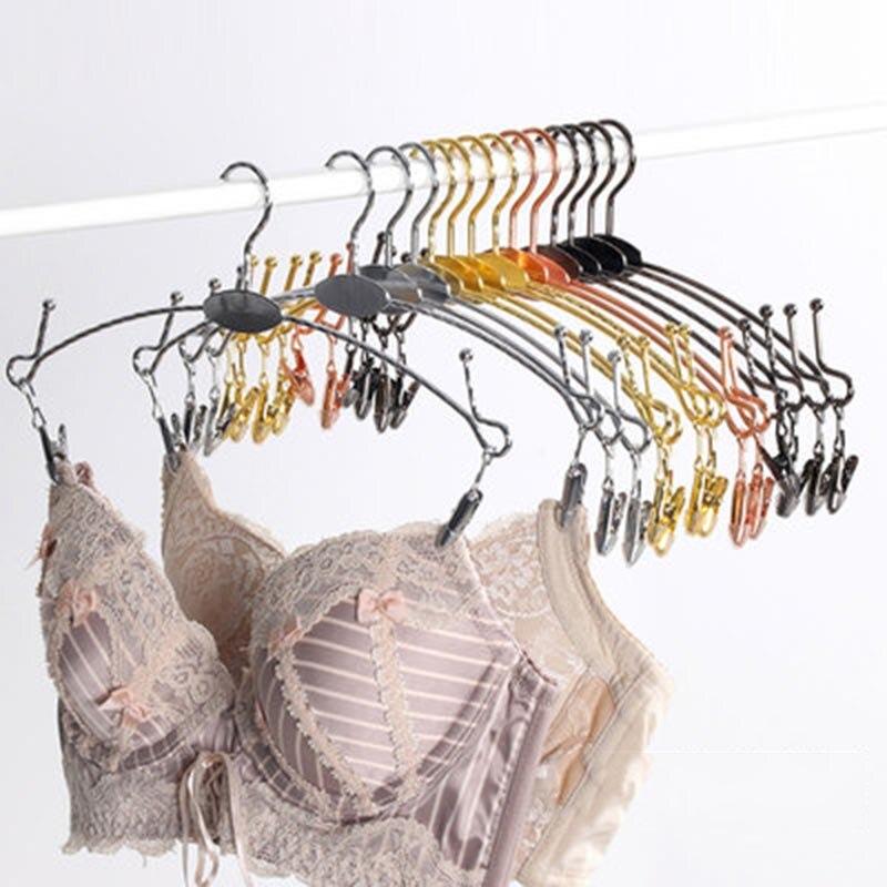 Metal rosa ouro cabide para roupa interior sutiã clothespin calcinha clipe cabides antiderrapante roupas de secagem rack de armazenamento de guarda-roupa organizador